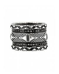 House of Harlow 1960 | Metallic Mesa Stack Rings Silver | Lyst