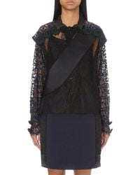 Toga | Black Appliqué-detail Lace Shirt | Lyst