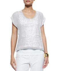 Eileen Fisher - Gray Organic Linen Gauze Short Top - Lyst