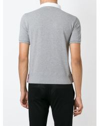 Thom Browne - Gray Round Collar Polo Shirt for Men - Lyst