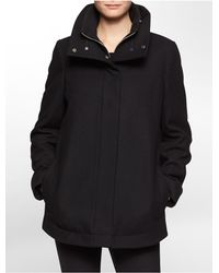 Calvin Klein | Black White Label Faux Double Layer Funnel Neck Wool Blend Coat | Lyst