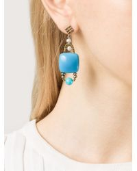 Ziio - Blue Stone And Bead Earrings - Lyst