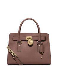 MICHAEL Michael Kors | Pink Hamilton East West Leather Satchel Bag | Lyst