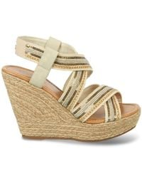 Carlos By Carlos Santana - Natural Corelle Sequin Espadrille Platform Wedge Sandals - Lyst