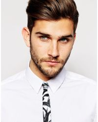 ASOS - Black Tie With Leaf Print for Men - Lyst