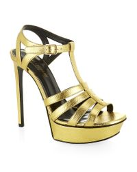 Saint Laurent | Metallic Bianca Sandal 105 | Lyst