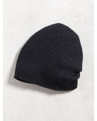 John Varvatos - Blue Double Layer Rib Knit Beanie for Men - Lyst