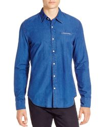 Scotch & Soda - Blue Crispy Poplin Regular Fit Button Down Shirt for Men - Lyst