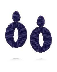 Oscar de la Renta   Blue Oscar O Gold-Tone Beaded Clip Earrings   Lyst