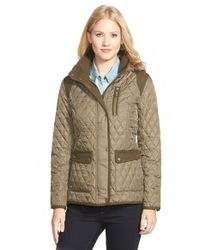 Vince Camuto | Green Mixed Media Quilted Jacket With Detachable Hood | Lyst