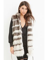 Forever 21 Gray Contemporary Striped Faux Fur Vest