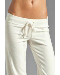 Juicy Couture White Velour Collegiate Crest Pant