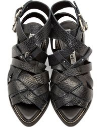 Acne Studios Black Grained Leather Lenna Sandals