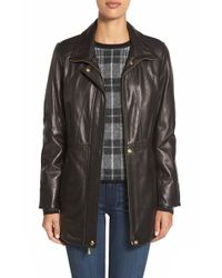 Ellen Tracy Black Zip Front Leather Coat