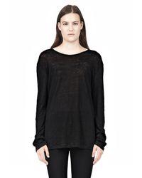 Alexander Wang - Black Linen Silk Long Sleeve Tee - Lyst
