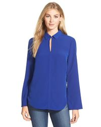 Ellen Tracy | Blue Bell Sleeve Crepe Shirt | Lyst