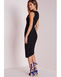 Missguided - Crepe Sleeveless Asymmetric Bodycon Dress Black - Lyst