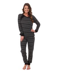 DKNY - Black Between The Lines Long Sleeve Top And Pants - Lyst