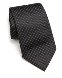 Armani | Black Narrow Track Stripe Silk Tie for Men | Lyst
