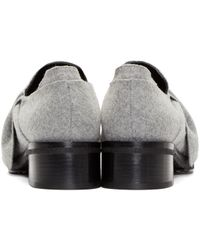 Proenza Schouler Gray Grey Felted Wool Bow Loafers