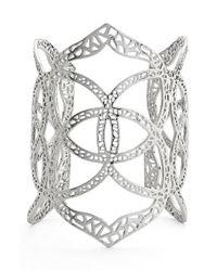 Kendra Scott | Metallic 'roni' Filigree Wide Cuff - Rhodium | Lyst