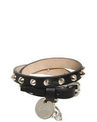 Alexander McQueen - Black Skull Charm Studded Leather Bracelet - Lyst