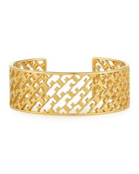 Tory Burch | Metallic Perforated Serif-t Cuff Bracelet | Lyst