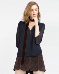 Zara   Blue Blouse With Neckline Detail   Lyst