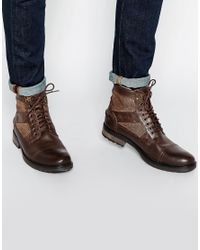 ASOS - Brown Work Boots In Leather With Fleece Lining for Men - Lyst