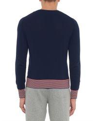 Moncler - Blue Contrast-Striped Cotton-Knit Sweater for Men - Lyst