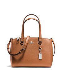 COACH - Brown Textured Leather Satchel - Lyst