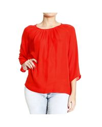 Etro - Red Top Crew-neck Wide Collar Or Wide Neck Silk Sleeve 3/4 - Lyst