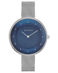 Skagen - Blue Women's Gitte Stainless Steel Mesh Bracelet Watch 38mm Skw2293 - Lyst