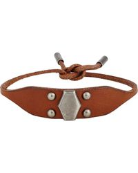 Saint Laurent - Brown Studded Leather Bracelet for Men - Lyst