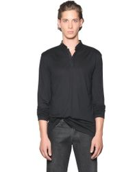 The Kooples Black Wool Blend Jersey Henley W/ Nappa Trim for men