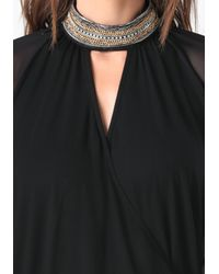 Bebe | Black Chain Neck Mesh Sleeve Top | Lyst