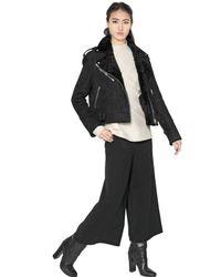 Proenza Schouler Black Lamb Shearling Leather Biker Jacket