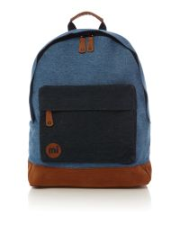 Mi-Pac Blue Denim Patch Stonewash Backpack for men