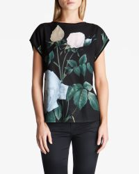 Ted Baker - Green Distinguished Rose Woven T-shirt - Lyst