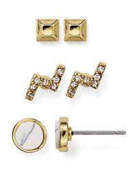 Aqua - Metallic Sally Stud Earrings, Set Of 3 - Lyst