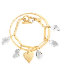Robert Lee Morris | Metallic Gold-tone Heart Bangle And Faceted Glass Stone Link Bracelet | Lyst