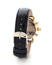 Michele Blue 18Mm Patent Leather Watch Strap - Navy