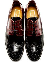 AMI Red Burgundy and Black Quarter Brogue Shoes for men
