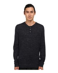 VINCE | Gray Wool Linen Jaspe Henley for Men | Lyst