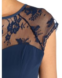 Elise Ryan - Blue Cap Sleeved Waisted Lace Shoulder Dress - Lyst