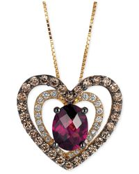 Le Vian | Red Raspberry Rhodolite Garnet (1 Ct. T.w.) And Diamond (5/8 Ct. T.w.) Heart Pendant Necklace In 14k Gold | Lyst