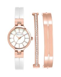 Anne Klein | Metallic Ceramic Bangle Watch Set | Lyst