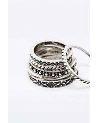 Urban Outfitters Metallic Stone Ring Pack In Silver