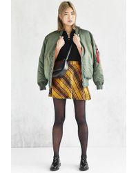 BDG Yellow Plaid Bias Cut Circle Skirt