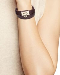 Ferragamo | Black Leather Gancini Double Wrap Bracelet | Lyst